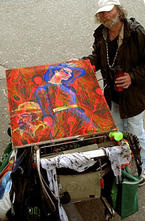 Evadna Chapman painting on Florida Pete's cart