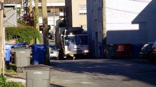 Usually city garbage trucks fly through the lanes -- not always in Fairview.