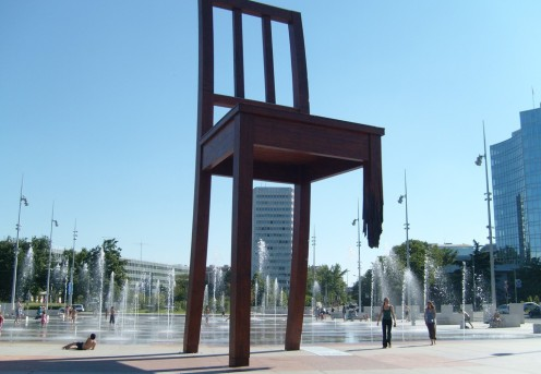 The 12 metre-high Broken Chair in Geneva, one of the home of the Four Pillar drug strategy.