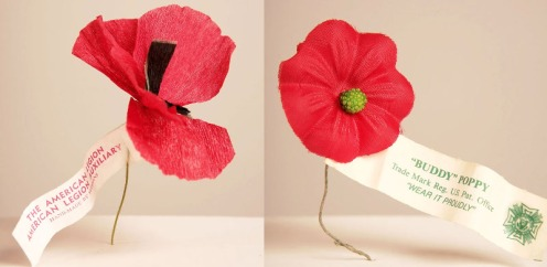 "American Legion poppy and a Veterans of Foreign Wars ""Buddy Poppy""."