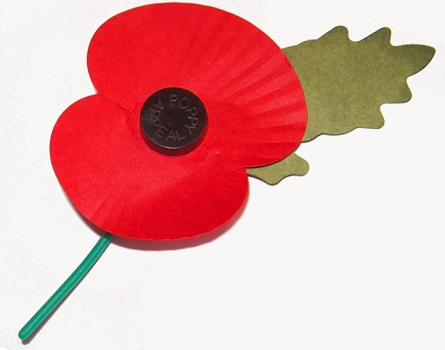 Royal British Legion's paper poppy with plastic stem.