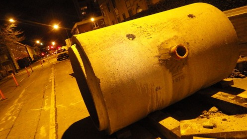 The big, pre-cast concrete pipe section looks like a real pig to deal with.