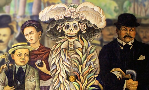Left to right: Diego Rivera (as child)l Frieda Kahlo, the Catarina Calavera and Jose Posada. -- Diego Rivera, Dream of a Sunday Afternoon in Alameda Park (1947)