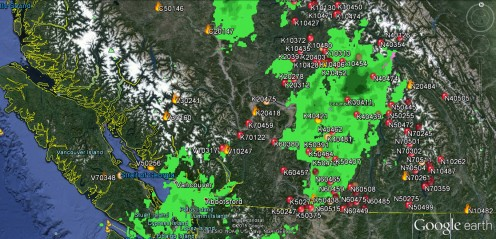 The tain (in green) over the B.C. wild fires at 1:47 p.m. -- B.C. Wildfire Service/Google Earth