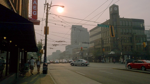 The view looking west from the intersection of South Granville St. and West Broadway Ave.