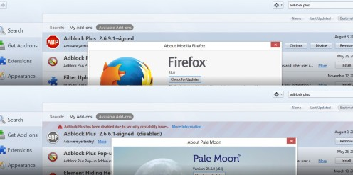 Firefox vs. Pale Moon -- a confusion of versions but ABP installs in FF but not in PM!