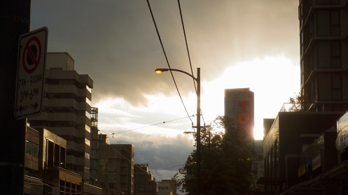 The view east from Alder Street down West Broadway at 7:31 a.m.