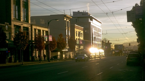 Arriving: looking east down Hastings Street from Jackson Avenue at 7:48 a.m.