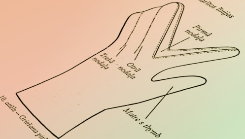 A diagram of how to cut the fingers in the durain.