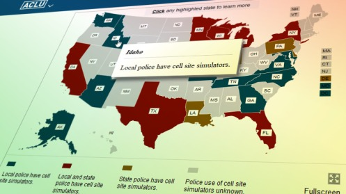 The ACLU's online map showing which U.S. police agencies have cell tower simulators.
