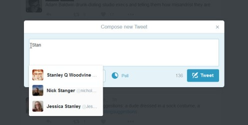 Twitter's web interface tries to guess what username you are typing but its not such a good guesser.
