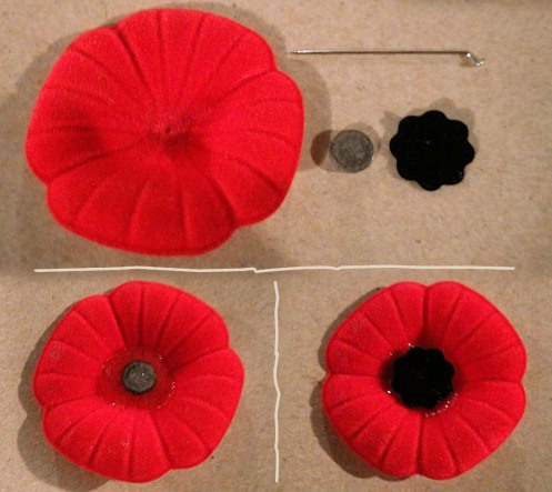 Blob epoxy in centre of poppy. Magnet in centre of epoxy. Felt dot on top of magnet.
