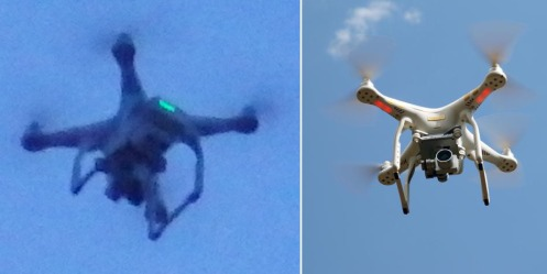 Mystery drone compared with a DJI Phantom 3.