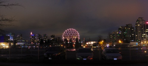 The view of Science World from 1st Avenue and Quebec Street at 8 a.m., from a December 14 bottle run.