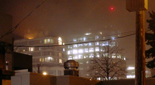 The fog rolling in, seen from Hemlock Street at 10 p.m. last night.
