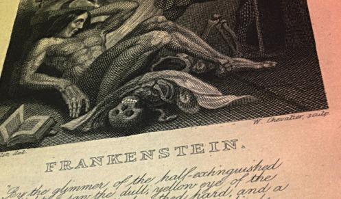 Frontispiece to 1831 edition of Frankenstein, engraving by W. Chevalier after Th. von Holst.