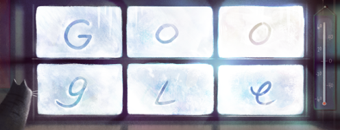 Google Doodle for February 3, 2014, Anniversary of the coldest temperature ever recorded in Canada. -- Google