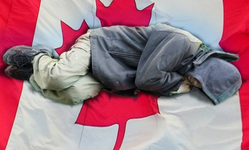sleeping-on-candian-flag