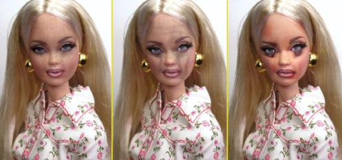 Barbie after three months, one year and five years on crystal meth.