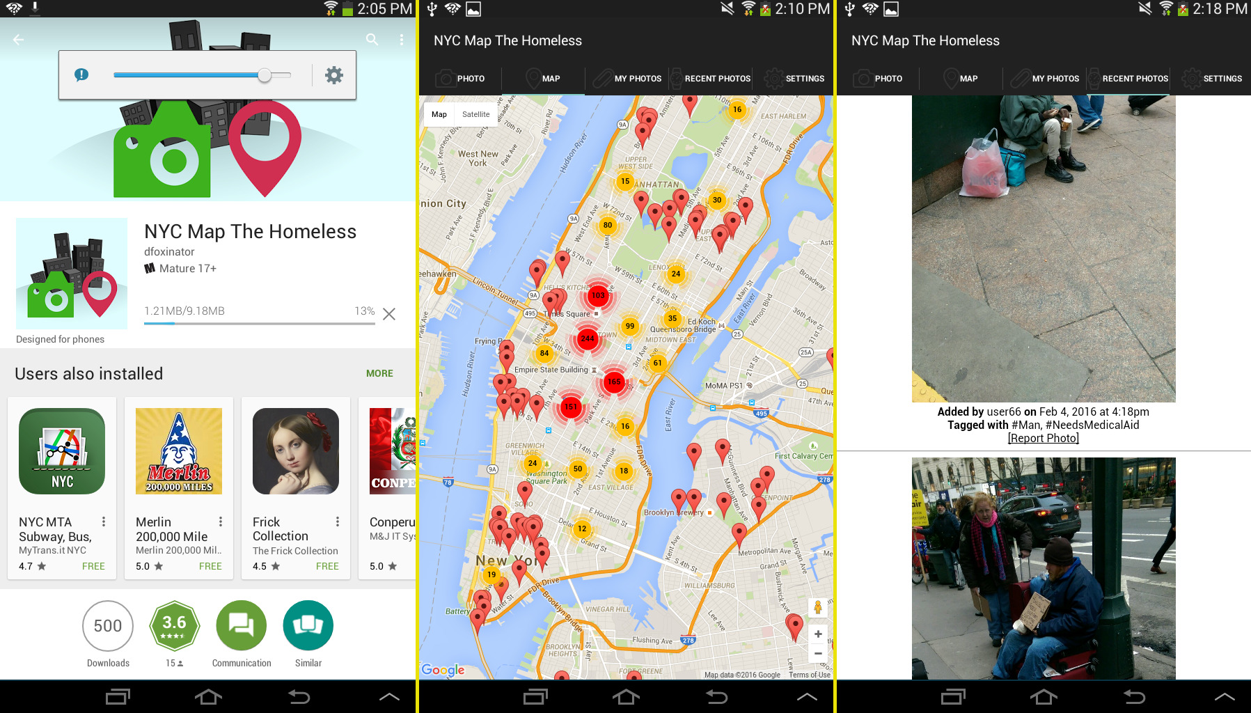 New app maps nyc homeless like theyre potholes to be avoided sqwabb the app in the google play store the live map and recent photos gumiabroncs Choice Image