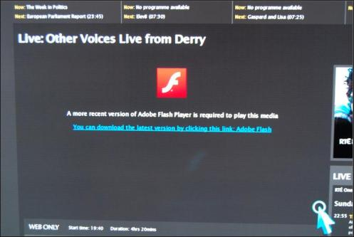 Trying to stream Flash-based video on a smart TV isn't a smart idea.