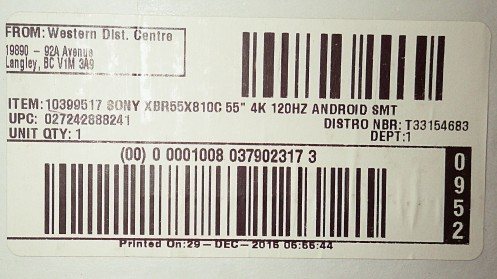 The label from a Sony Bravia x81c listing it as an Android device.