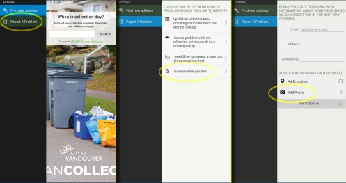 Navigating three screens in the VanCollect app to report a problem.