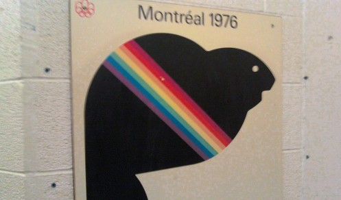 Amik's likeness on a sign for the Montréal Summer games in 1976.