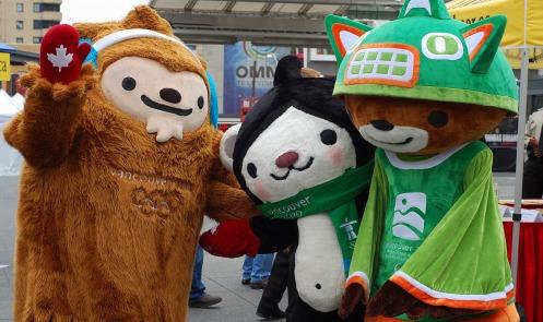 The 2010 mascots people remember: Quatchi, Miga and Sumi.