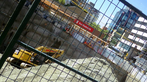 The developing hole at 988 West Broadway and the city-owned Scotiabank property on the other side of Oak.