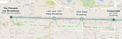 Four possible Broadway stations.—Google Maps