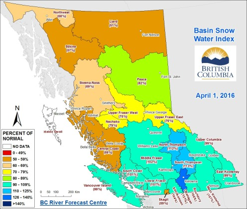 B.C. Basin Snow water Index, April 1, 2016.—B.C. River Forecast Centre