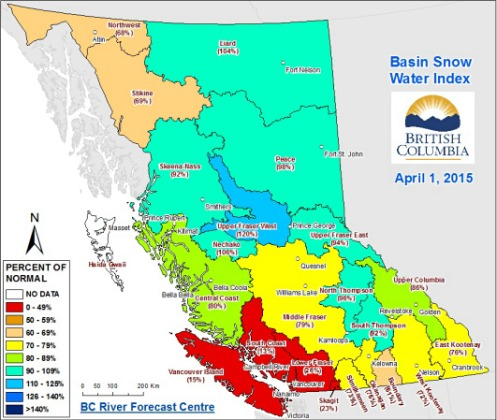 Basin Snow Water Index, April 1, 2015.--B.C. River Forecast Centre