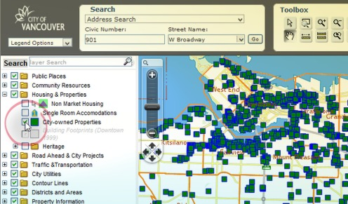 The City of Vancouver's online VanMap, toggled to show city-owned properties.
