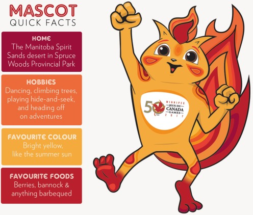 The as-yet un-named Winnipeg 2017 mascot—likes dancing, climbing trees and anything barbeques!