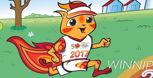 The squirrel on fire mascot for the 2017 Canada Games in Winnipeg.—Winnipeg 2017
