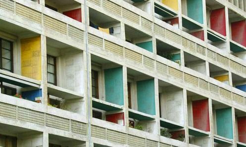 Detail of the east face of Le Corbusier's Cité radieuse in Marseille, France.