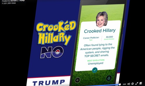 Trump campaign's attack video portraying Hillary Clinton as a Pokémon—Donald J. Trump/Facebook