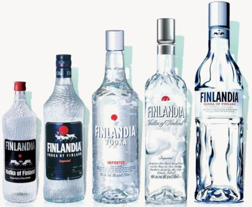 Finlandia bottles, left to right: 1970, 1990, 12998, 2003 and 2011.—Pinterest