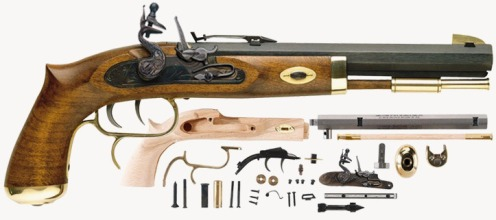 A USD$200 flintlock pistol kit that fire real lead shot.—muzzle-loaders.com