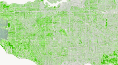 Vancouver tree canopy map from the 2014 Urban Forest Strategy report.—City of Vancouver