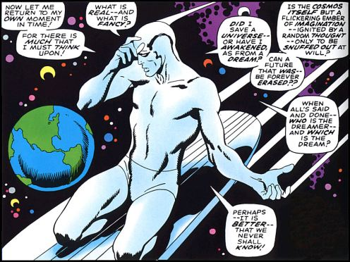 The angst-ridden Silver Surfer from his self-titled 1968 comic. Art by John Buscema.—Marvel Comics