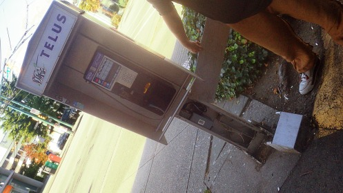 My assistant the Green Guy shows the electrical wiring of a payphone, exposed by vandals.