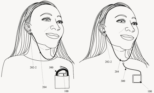 One of the drawings from Apple's U.S. Patent No. 9,277,309, for magnetically detatchable wireless earbuds.