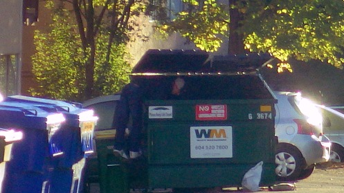 A dumpster diver pokes through the trash in a big 4-yard-size bin at 8:11 a.m.