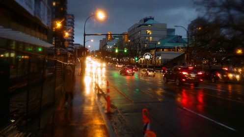 Getting pretty wet again by 4:20 p.m. at 12th and Cambie.