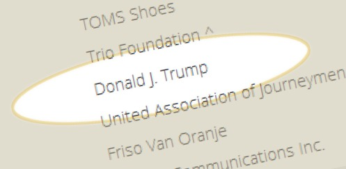 Donald Trump's entry on the Clinton Foundation's Contributor and Grantor page.