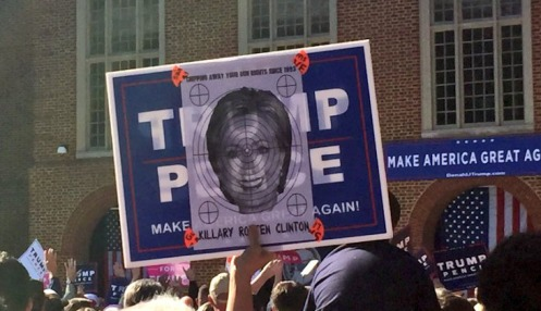 Spotted at a Trump Virginia Beach rally—a bullseye with Clinton's face on it!—Jim Acosta/Twitter
