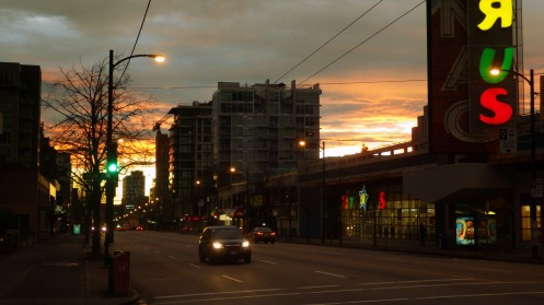Looking east from West Broadway Avenue and Spruce Street at 7:05 a.m.