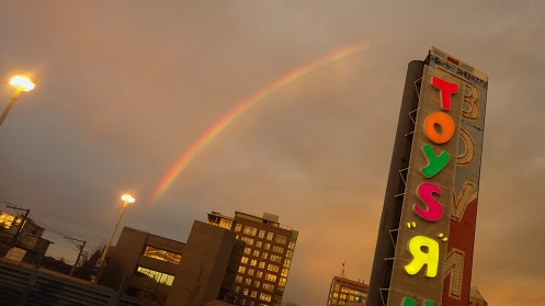 The rainbow as it appeared in the western sky at 7:13 a.m.